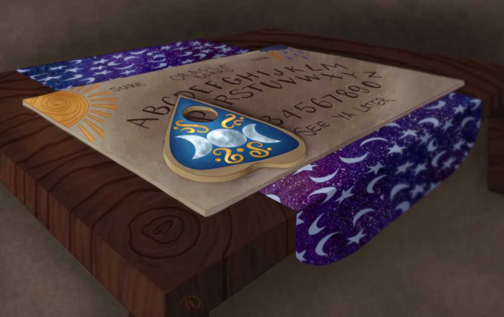 a perspective shot of a table with an oracle board on it. The planchette is inlaid with silver and gold, and rests on the P.