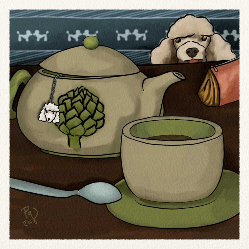 a tea pot with an artichoke motif, with a goofy poodle looking on in the back