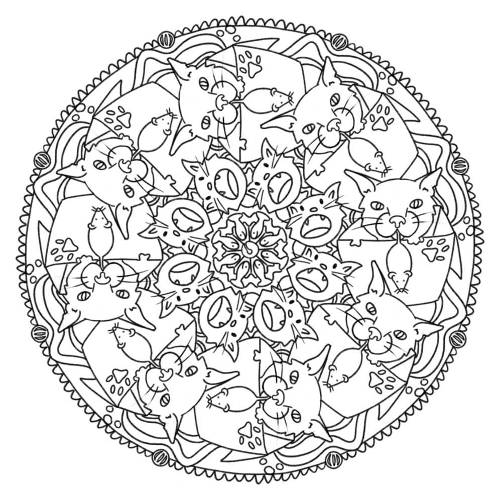 a black line mandala with a motif of cats.