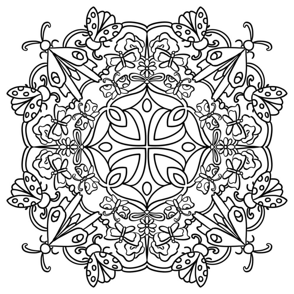 a mandala style coloring page with a bug motif