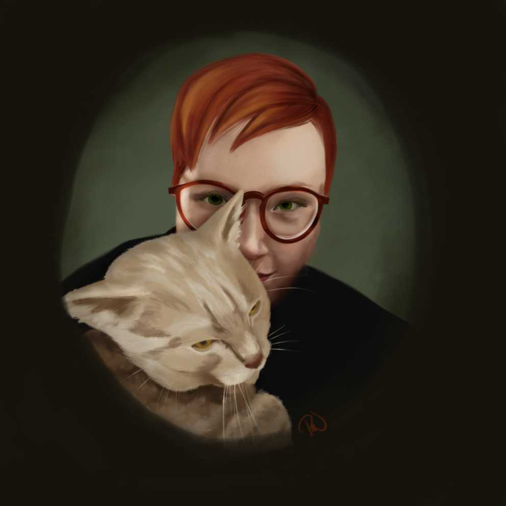 a person with glasses and an orange tabby cat