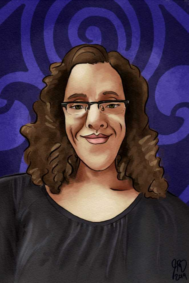 a woman with glasses and curly hair in front of a seal of Rassilon