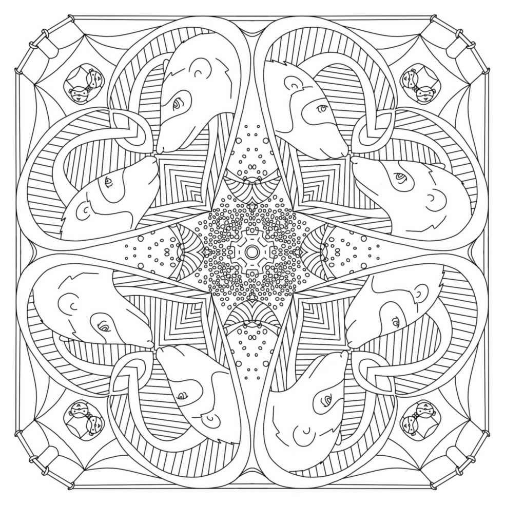 a mandala style coloring page with a ferrets motif