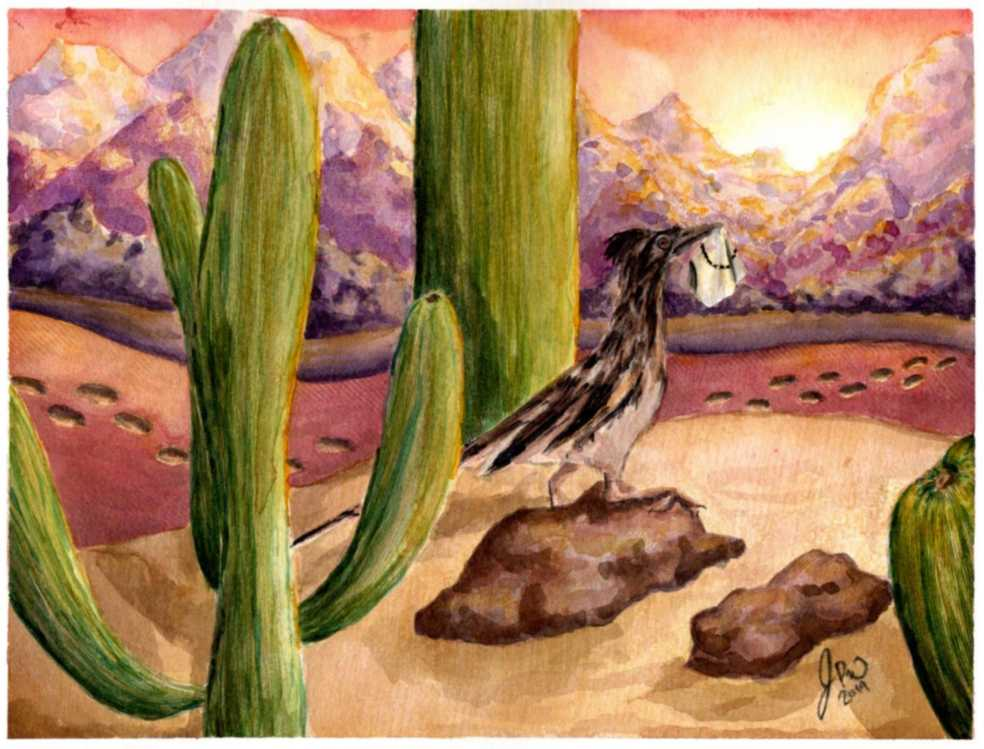 A road runner holds up a piece of unfinished embroidery in the desert.
