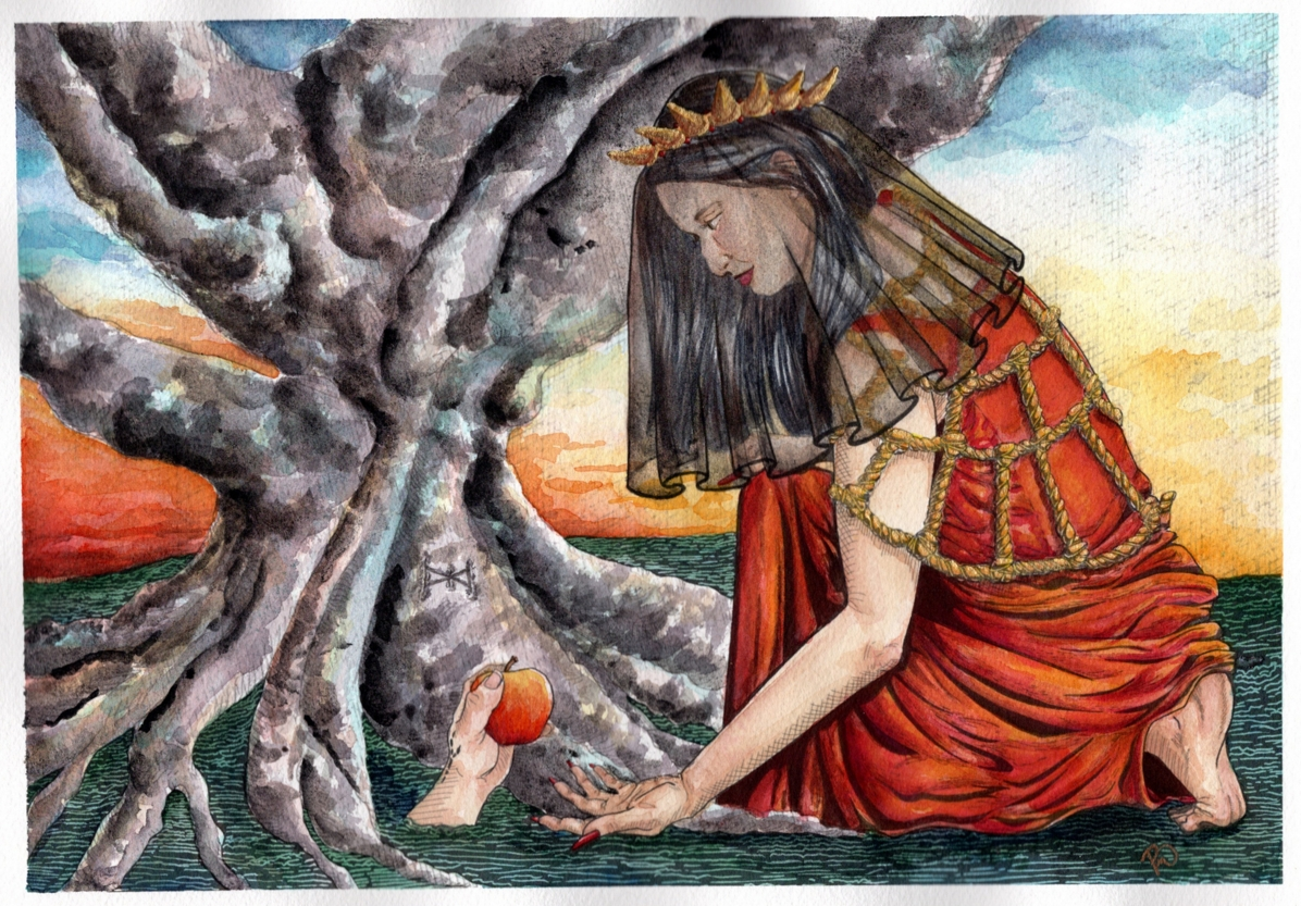 A woman in red wearing a gold crown, and gold ropes, leans down extending her hand to accept an apple from a hand coming out of the ground.