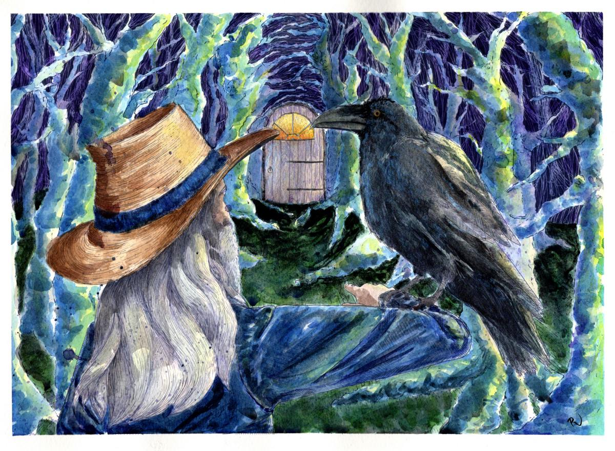 a raven in eerie blue light sits on a man's arm. They are in front of a tunnel of trees that lead to a glowing door.