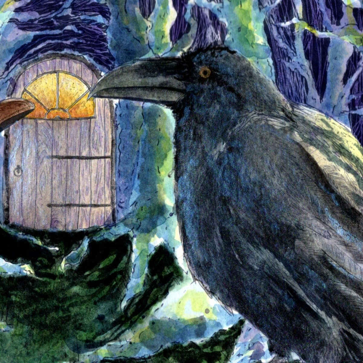 Close up of the Raven from The Old Man, The Bird