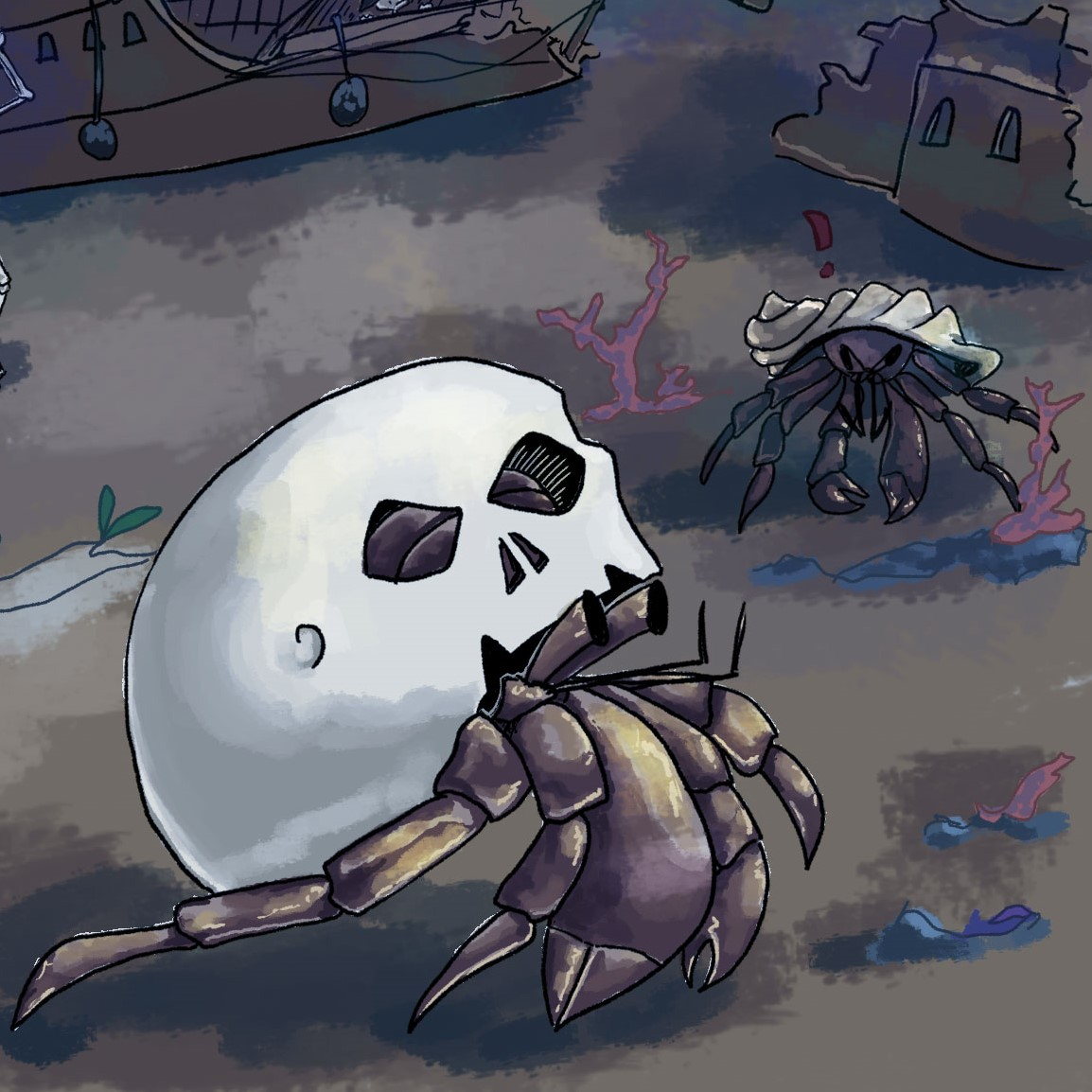 A crab wearing a skull as a shell is watched closely by another crab