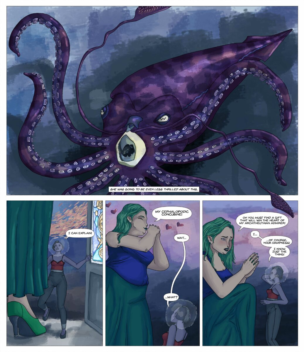 The Kraken is angry, but the Nenenore is smitten. She asks Olive to get a gift for the Kraken to win her love.